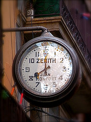 ´Timeless´ vintage Zenith Clock Sign in the Carrer de l´Espaseria, Barcelona Spain